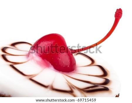 Dessert with cherry - stock photo