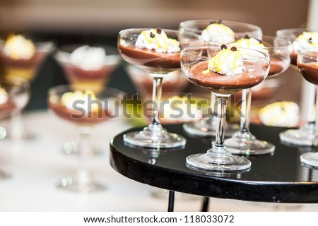 Desserts for business meeting conference participants set up in luxurious glasses