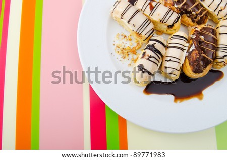 Desserts served in the plate - stock photo