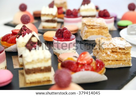 desserts with fruits, mousse, biscuits - Shutterstock ID 379414045