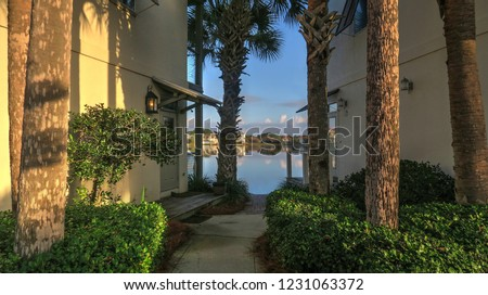 Destin Beach Florida Modern Architecture Rental Homes and Palm Trees