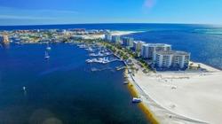 Destin buildings and coastline, Florida.