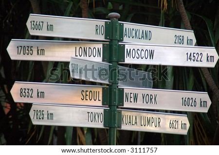 destination signs to several famous cities, photo taken in Australia