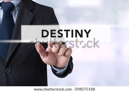 DESTINY CONCEPT Businessman hands touching on virtual screen and blurred city background #398075188