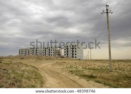 destroyed building, aral, kazakhstan