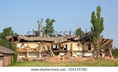 Destroyed building, can be used as demolition, earthquake, bomb, terrorist attack or natural disaster concept.