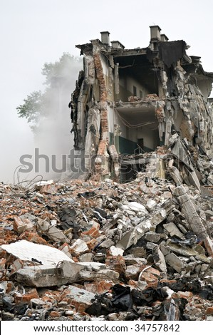 Destroyed building, can be used as demolition, earthquake, bomb, terrorist attack or natural disaster concept. Series
