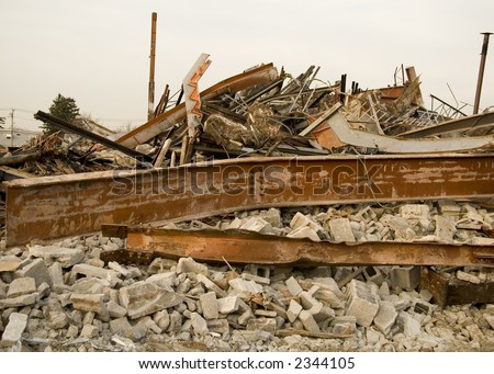 Destroyed Building Rubble with Bent Beams and Cylinder Blocks