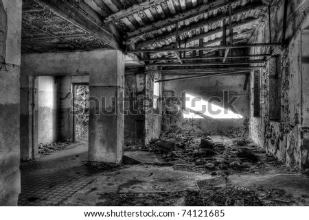 destroyed hall, black and white