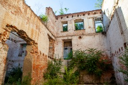 Destroyed house, ruins in the warehouses of merchant Paramonov in Rostov-on-don at the embankment of the don river