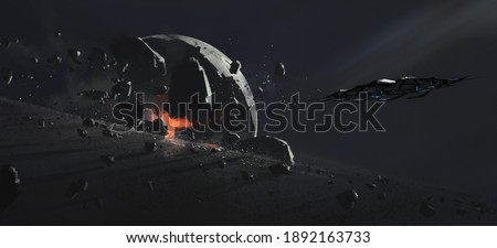 Destroyed planet, science fiction illustration. Сток-фото ©