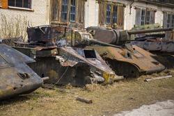 Destroyed soviet old tanks