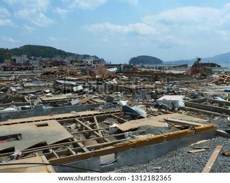 Destroyed Town Of Minami Sanriku After Great Japan Tsunami In March 2011 Foto stock ©