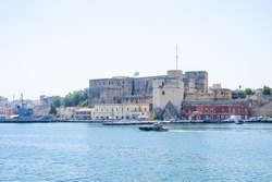 destroyer moored in the port of the ancient city of brindisi near the fortress Swabian Castle