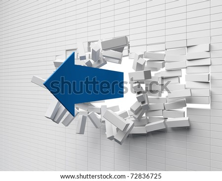 Destruction of a brick wall arrow