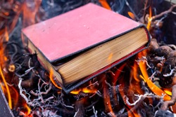 Destruction of books. Book with a red cover in fire