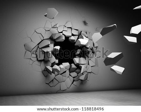 Destruction of concrete wall