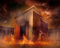 destruction of holy Jewish temple in ancient history, mourning day tish b'av 9'th day in av