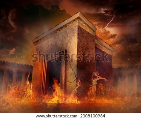destruction of holy Jewish temple in ancient history, mourning day tish b'av 9'th day in av Foto stock ©
