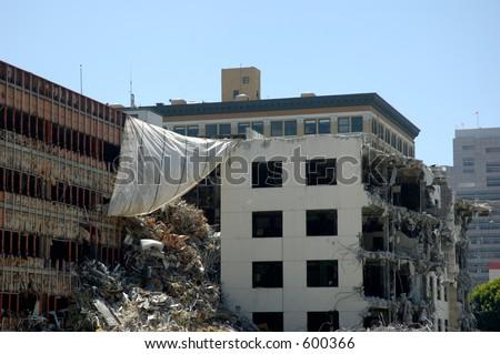 Destruction on building.
