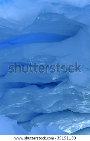 Detaif of the ceiling of an ice cave on Antarctica