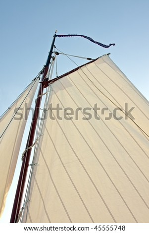 Detail from a traditional sail from an old fashioned sailingship in the Netherlands