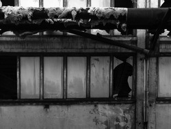 Detail from an old abandoned industrial hall. Two rows of windows with broken frosted glass and heating pipes with dilapidated glass wool insulation.