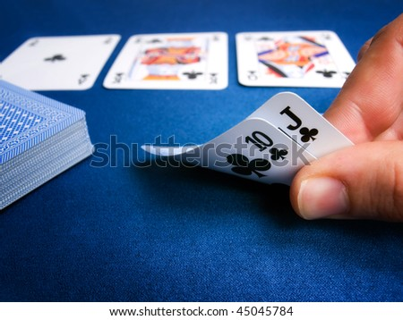 Detail from card games such as poker Texas hold'em.