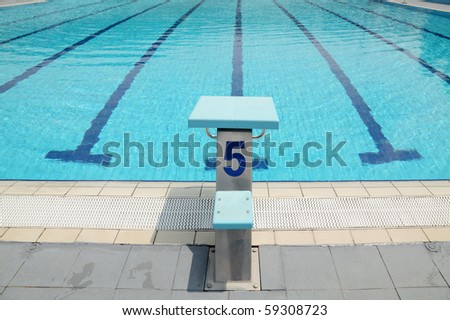 Detail from open air olympic swimming pool, starting place