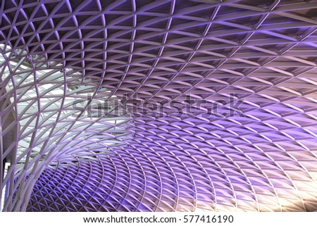 Detail from the roof of King's Cross station. Public place.