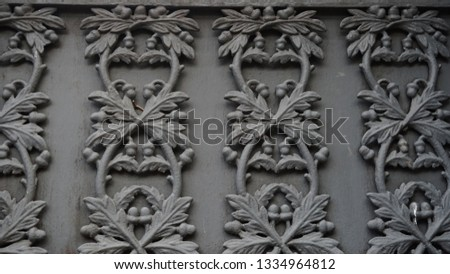 detail, full frame, ornate relief design  on wall #1334964812