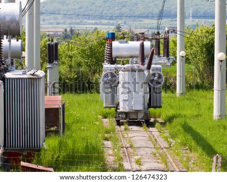Detail image about a high voltage transformer station