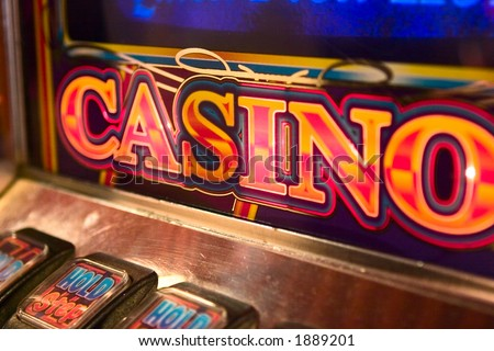 detail image of slot machine displaying the word casino.