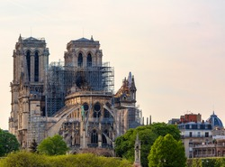 Detail image of the remains of Notre Dame Cathedral in Paris after the fire destroyed the whole roof in 15 April 2019..