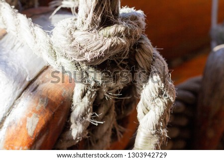 Detail in liberty Frigate of Sailor knot on ship illuminated by the sun's rays Buenos Aires Argentina. #1303942729