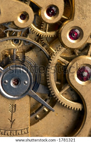 Detail inside an antique stopwatch, with real rubies