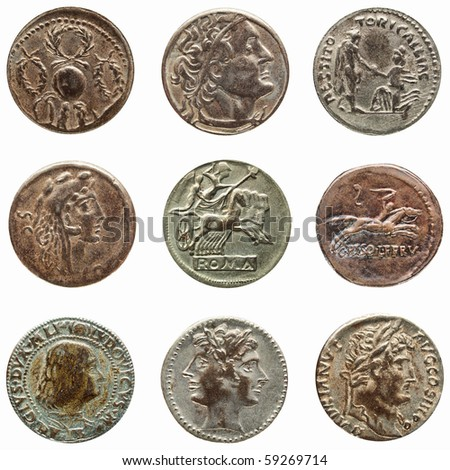 Detail macro of ancient Roman coin money - stock photo