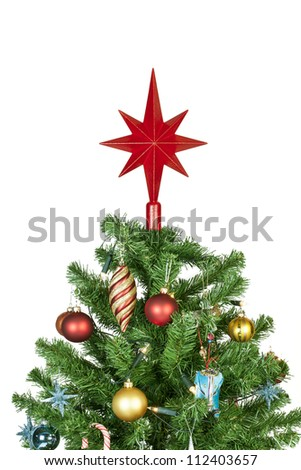 Detail of a beautiful christmas tree isolated on white background - studio shot