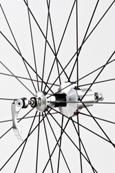 Detail of a bicycle's wheel.