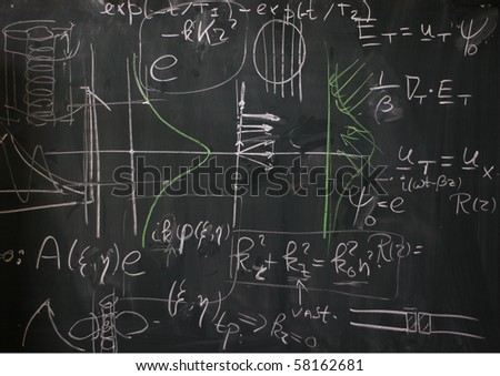 Detail of a blackboard showing university physics