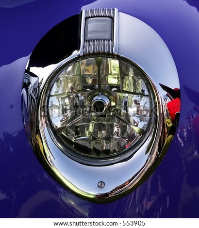 Detail of a blue headlight