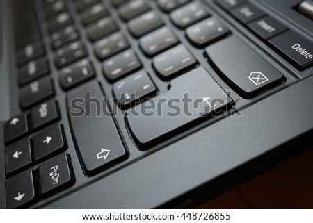 Detail of a brand new modern black laptop keyboard with the focus on the Enter key