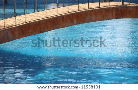 Detail of a bridge on a swimming pool