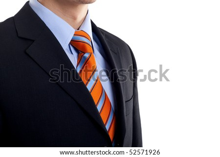 Detail of a Business man Suit with blue orange tie over white