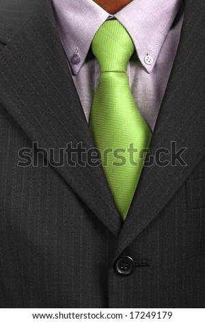 detail of a Business man Suit with green tie