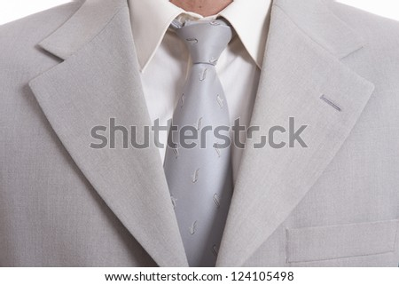 detail of a Business man Suit with silver tie