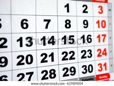detail of a calendar