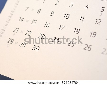 detail of a calendar page with dates #591084704