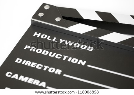 Detail of a clapperboard with white background