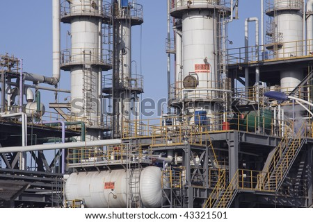Detail of a colorful chemical plant